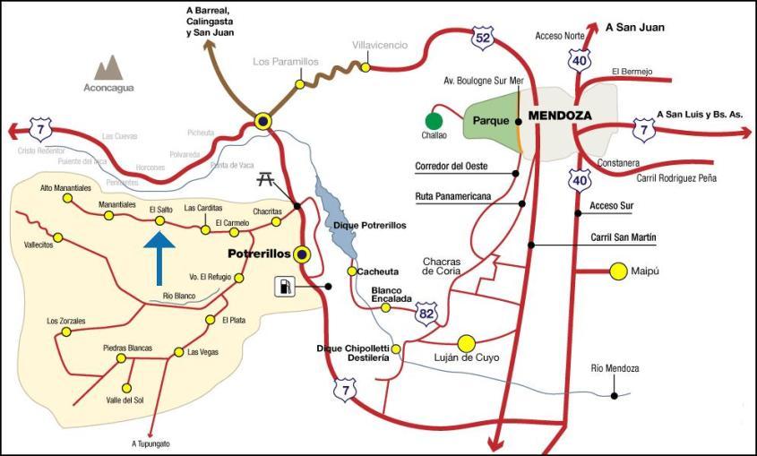 plano Potrerillos Mendoza